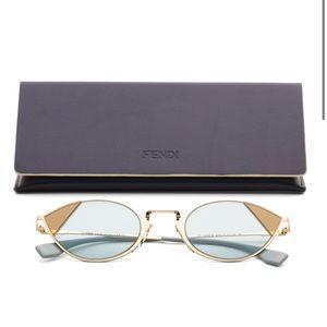 Fendi Cut-Eye Gold Azure Metal Cat- Eye Sunglasses